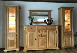 Perigo Säulen-Kombination mit Highboard und Spiegel in Eiche massiv - viele Möglichkeiten im Landhausstil - auch in Buche oder Kirschbaum möglich