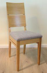 Stuhl  Lino  schlanker Massivholzstuhl mit gebogenem Holzrücken und gepolstertem Sitz in Eiche, Kernbuche oder Buche - viele Bezüge möglich