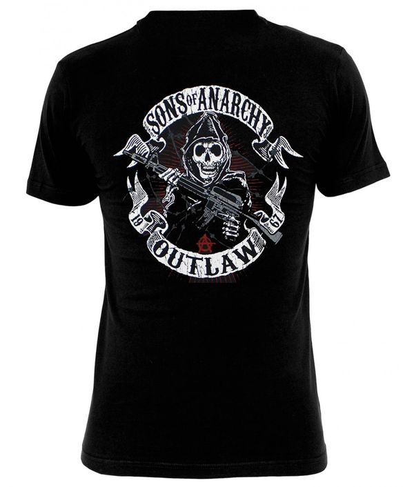 Sons of Anarchy SOA American Outlaw T-Shirt male black – Bild 2