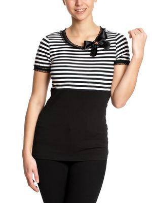 Pussy Deluxe Stripey black/white on black Shirt – Bild 0