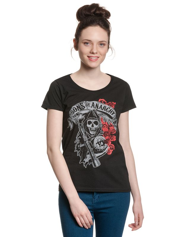 Sons of Anarchy SOA Reaper & Roses Girl T-shirt black view