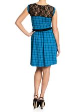 Pussy Deluxe Checkered Heart Dress blue allover – Bild 2