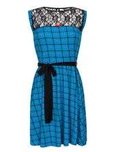Pussy Deluxe Checkered Heart Dress blue allover – Bild 0