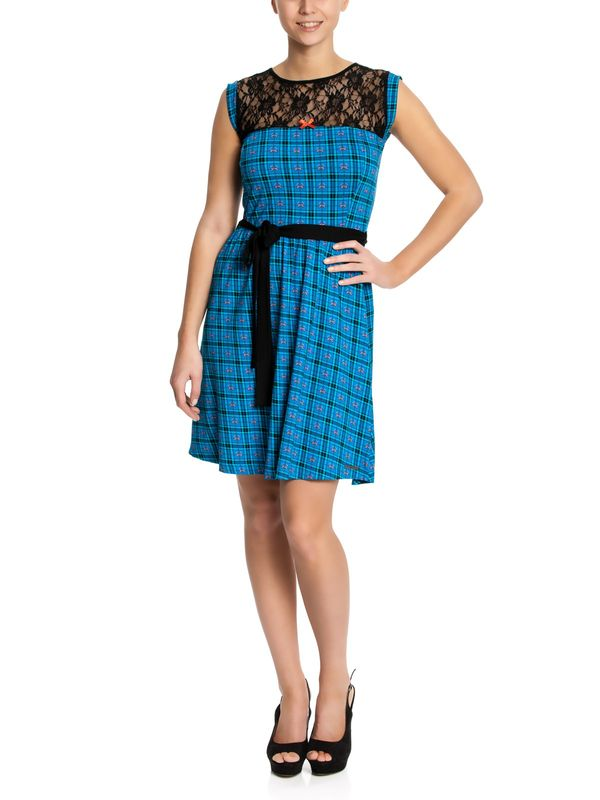 Pussy Deluxe Checkered Heart Dress blue allover – Bild 1