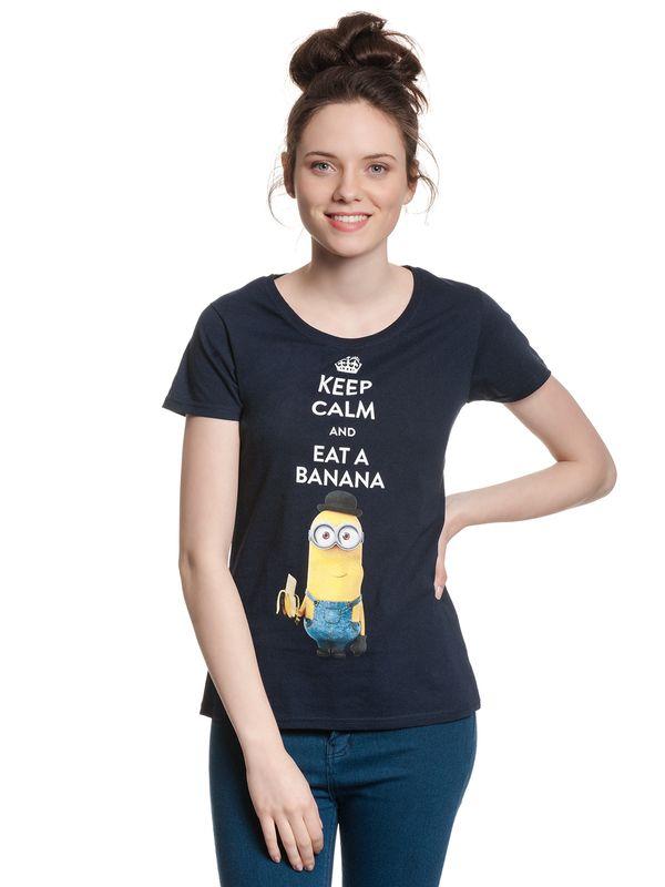 Minions Keep Calm Girl Shirt dunkelblau Ansicht