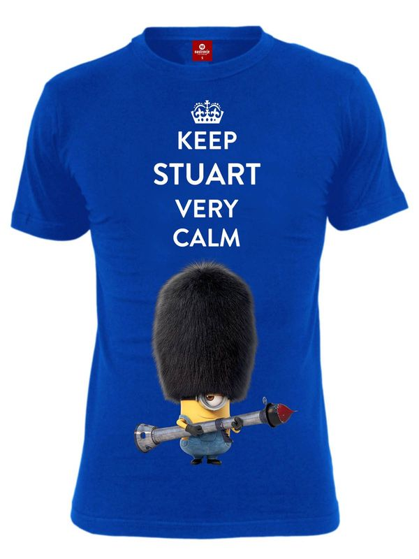 Minions Keep Stuart Calm Male Shirt blue