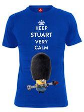 Minions Keep Stuart Calm Male Shirt blue