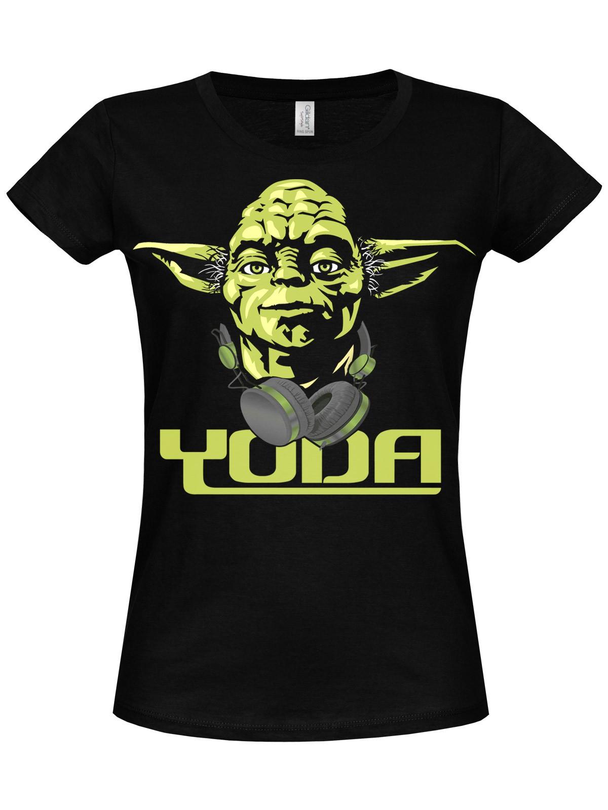 star wars cool yoda girly t shirt black damen t shirts. Black Bedroom Furniture Sets. Home Design Ideas