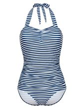 Pussy Deluxe Sally Striped Swimsuit, Badeanzug blau/weiss