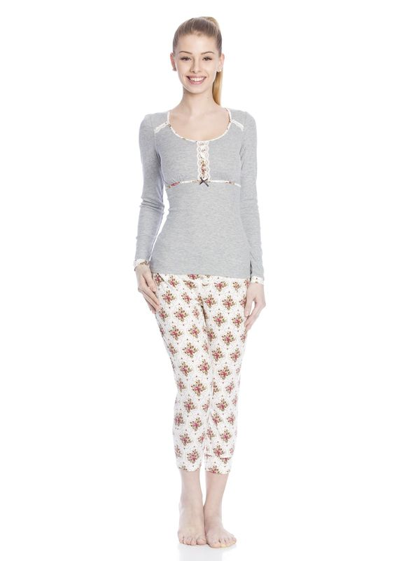 Vive Maria Cottage Flower Pyjama gray-melange/allover  – Bild 1
