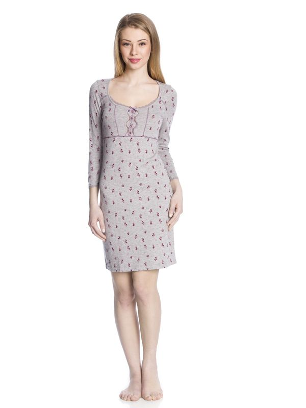 Vive Maria Bouquet of Violets Nightdress gray-melange allover  – Bild 1