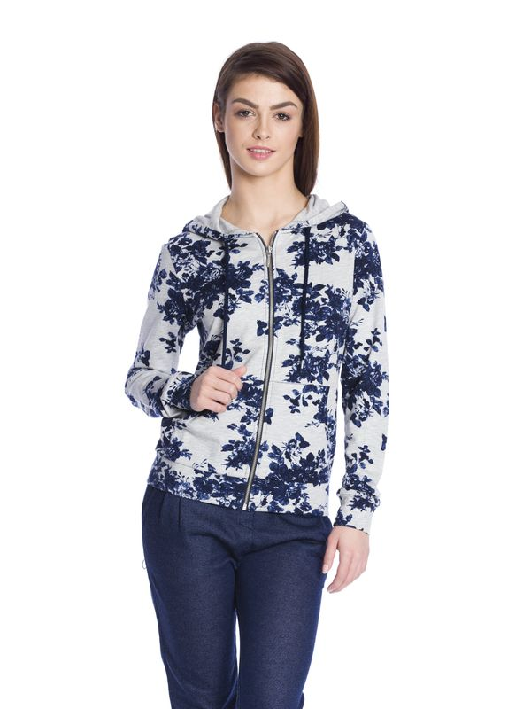 Vive Maria Faded Blue Roses Hooded Jacket gray-melange allover  – Bild 1