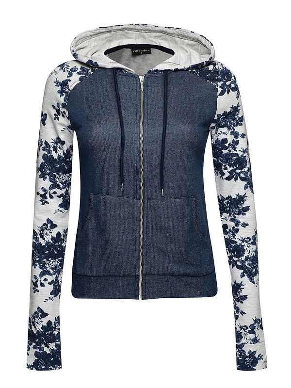 Vive Maria Faded Blue Hooded Jacket dark blue/gray-melange allover  – Bild 0