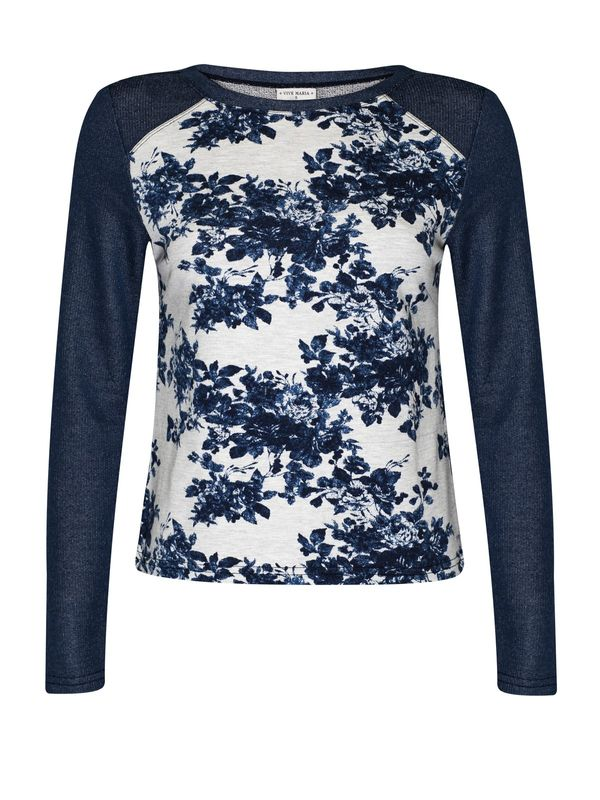 Vive Maria Faded Blue Roses Sweatshirt dark blue/gray-melange allover  – Bild 1