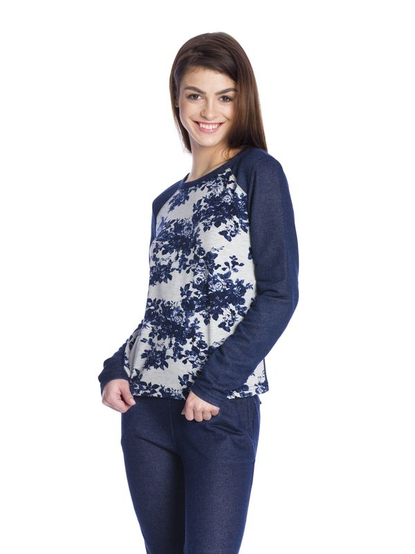 Vive Maria Faded Blue Roses Sweatshirt dark blue/gray-melange allover  – Bild 3