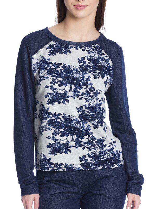 Vive Maria Faded Blue Roses Sweatshirt dark blue/gray-melange allover  – Bild 5
