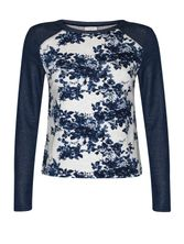 Vive Maria Faded Blue Roses Sweatshirt dark blue/gray-melange allover  – Bild 0