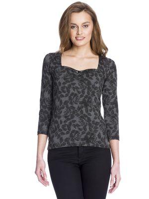 Vive Maria Black Pin-Up Shirt grau allover-Druck – Bild 1