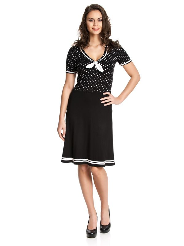 Pussy Deluxe Sailor Dotties Dress, Kleid schwarz – Bild 1