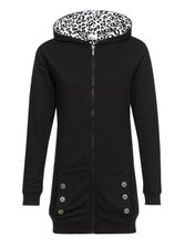 Pussy Deluxe Longsweater Coat black Lining Leo white on black Frauen Mantel – Bild 0