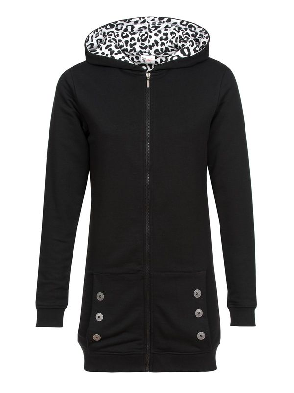 Pussy Deluxe Longsweater Coat black Lining Leo white on black Frauen Mantel
