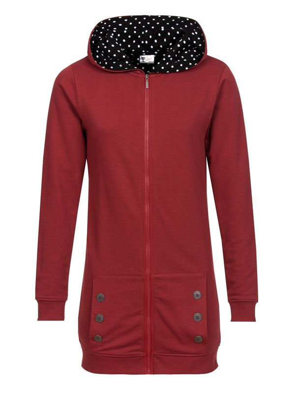 Pussy Deluxe Longsweater Coat red Lining Dotties white on black view