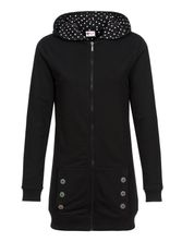 Pussy Deluxe Longsweater Coat black Lining Dotties white on black Frauen Mantel – Bild 0