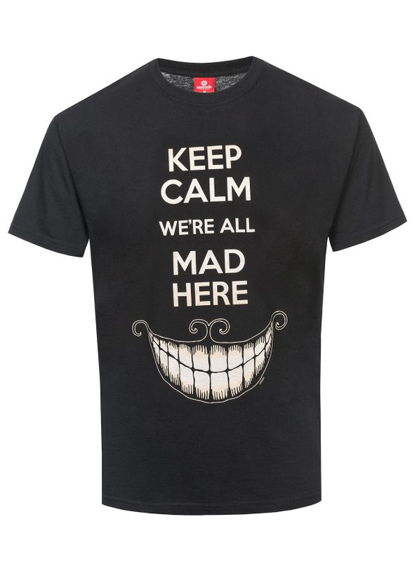 Alice in Wonderland Keep Calm Mad T-Shirt schwarz – Bild 0