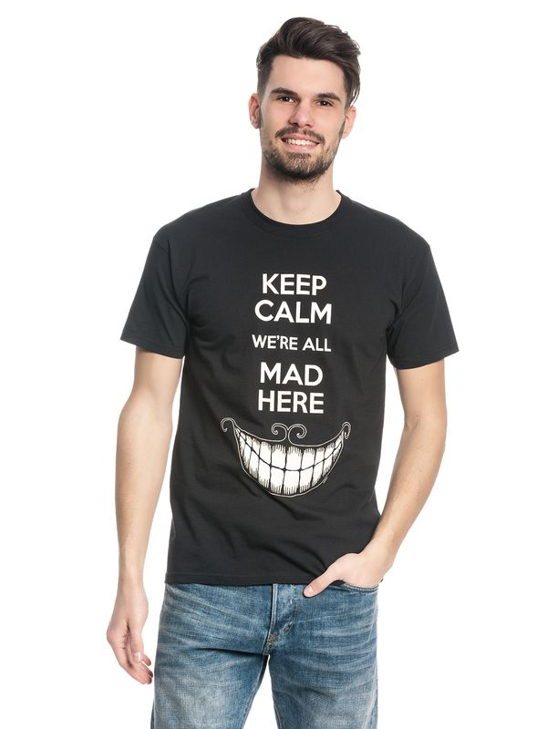 Alice in Wonderland Keep Calm Mad T-Shirt schwarz – Bild 1
