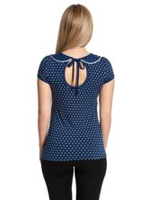 Pussy Deluxe Lovely Marine Dotties Collar Shirt blue – Bild 1