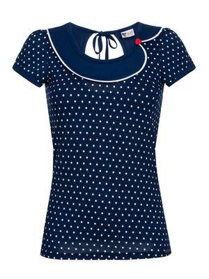 Pussy Deluxe Lovely Marine Dotties Collar Shirt blau – Bild 0