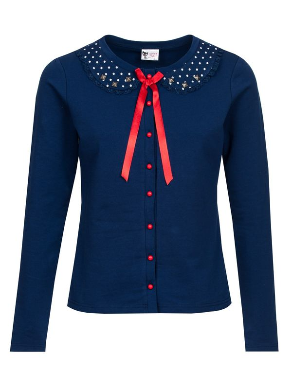 Pussy Deluxe Lovely Marine Sweet Dotties Collar Jacke blau – Bild 0