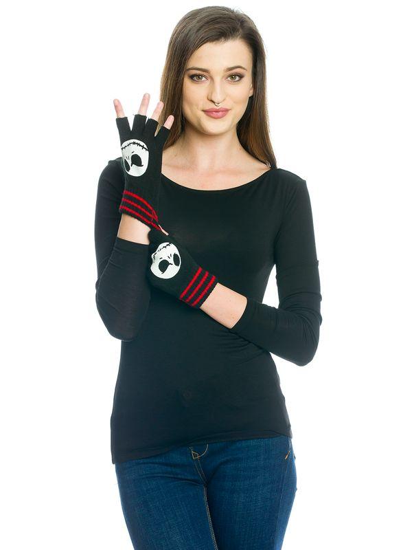 Nightmare Before Christmas Smiled Jack Fingerless Gloves black  – Bild 0