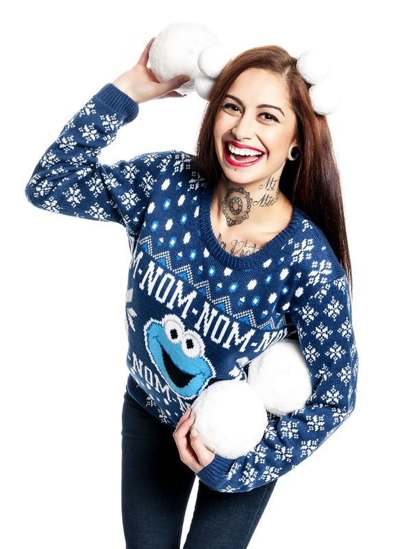 Sesame Street Christmas Jumper Knit Pullover female blue – Bild 0