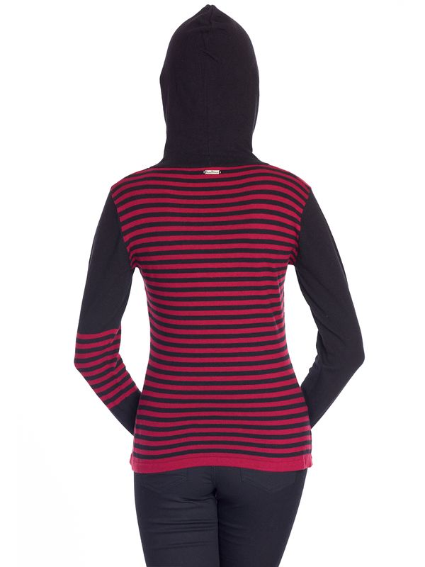 Pussy Deluxe Built In Warmer Stripes Knit Asymetric Hoodie red/black – Bild 3