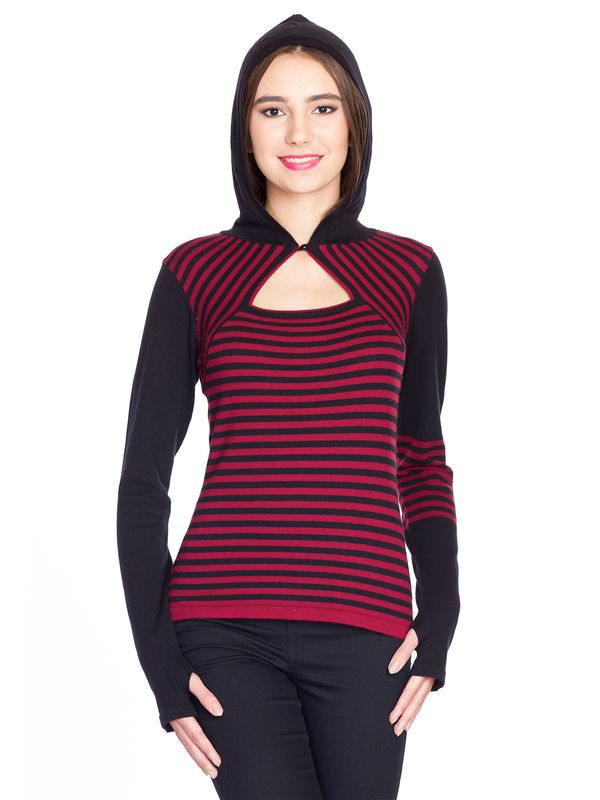 Pussy Deluxe Built In Warmer Stripes Knit Asymetric Hoodie red/black – Bild 4