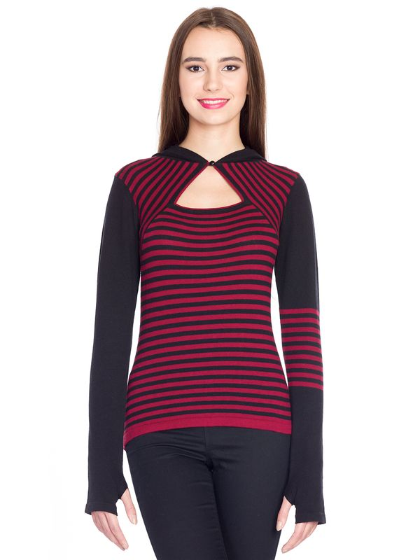 Pussy Deluxe Built In Warmer Stripes Knit Asymetric Hoodie red/black – Bild 1