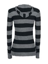 Pussy Delxue Build In Warmer Big Stripes Hoodie Kapuzenpullover schwarz/grau – Bild 1