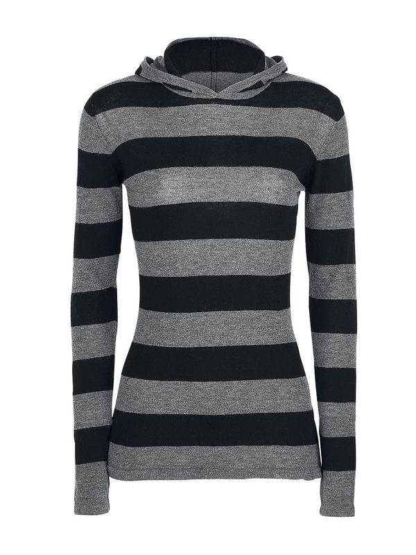 Pussy Deluxe Build In Warmer Big Stripes Hoodie black/gray – Bild 1