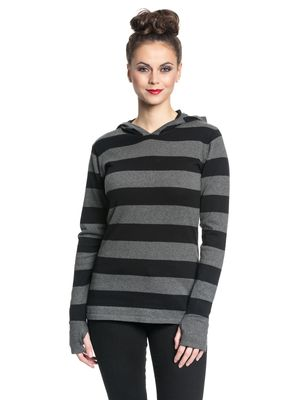 Pussy Delxue Build In Warmer Big Stripes Hoodie Kapuzenpullover schwarz/grau – Bild 2