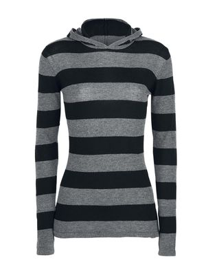 Pussy Delxue Build In Warmer Big Stripes Hoodie Kapuzenpullover schwarz/grau – Bild 0