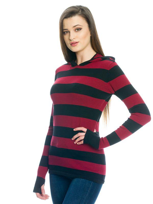 Pussy Deluxe Build In Warmer Big Stripes Hoodie red/black – Bild 3