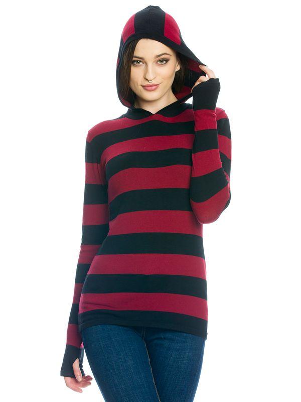 Pussy Delxue Build In Warmer Big Stripes Hoodie Kapuzenpullover rot/schwarz – Bild 2