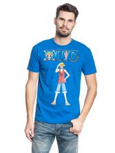 ONE PIECE Luffy Männer T-Shirt blau – Bild 1