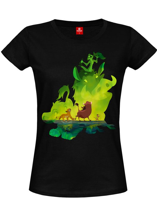 The Lion King Green Jungle Damen T-Shirt Schwarz – Bild 4