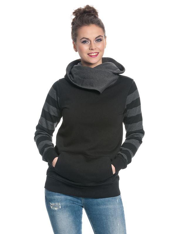 Nastrovje Potsdam Shawl Collar Dark Stripes Hoodie female black/gray – Bild 2
