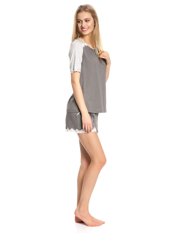 Vive Maria Gray Night Short Pyjama gray melange/grey allover – Bild 2