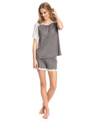 Vive Maria Gray Night Short Pyjama gray melange/grey allover – Bild 1