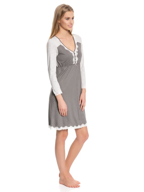 Vive Maria Gray Night Nightdress gray melange/grey allover – Bild 2