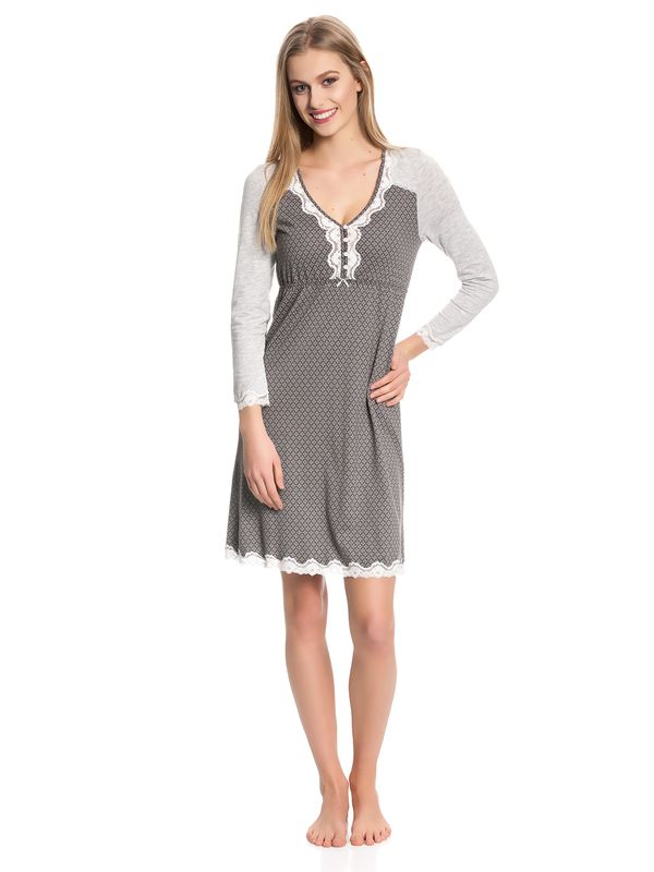 Vive Maria Gray Night Nightdress gray melange/grey allover – Bild 1